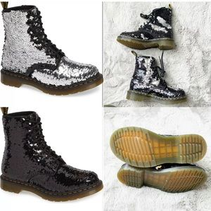 NEW Dr Martens Pascal Black/Silver Sequin Boots, 8